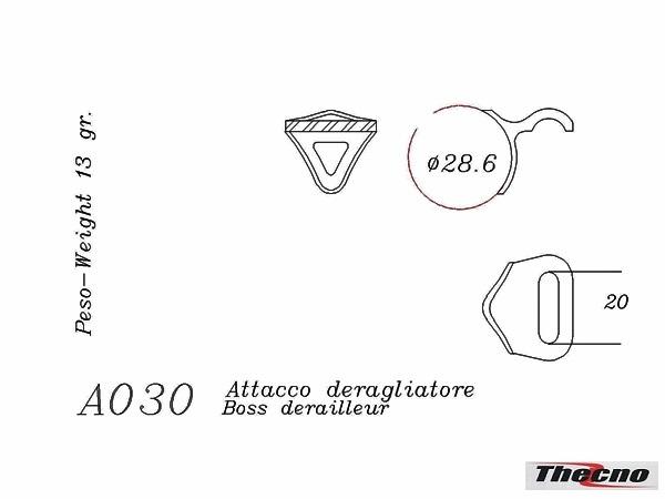 Cod:A030 - ATTACCO DERAGLIATORE IN MICROFUSIONE PER TELAI ACCIAIO A030 - Thecnoline