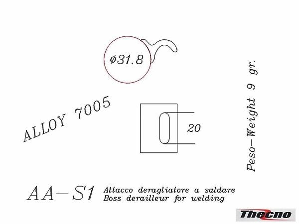Cod:AA-S1 - ATTACCO DERAGLIATORE PER TELAI IN ALLUMINIO AA-S1 - Thecnoline