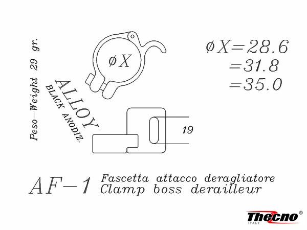 Cod:AF-1-31.8 - FASCETTA ATTACCO DERAGLIATORE 31.8 IN ALLUMINIO ANODIZZATO NERO AF-1-31.8 - Thecnoline