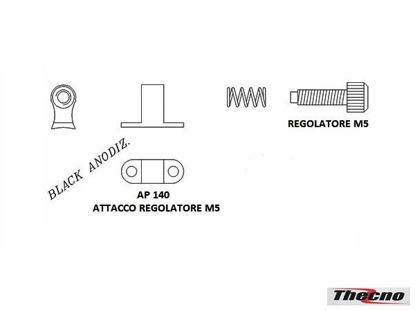 Cod:AP-140 - ATTACCO REGOLATORE M5  IN ALLUMINIO ANODIZZATO NERO AP-140 - Thecnoline