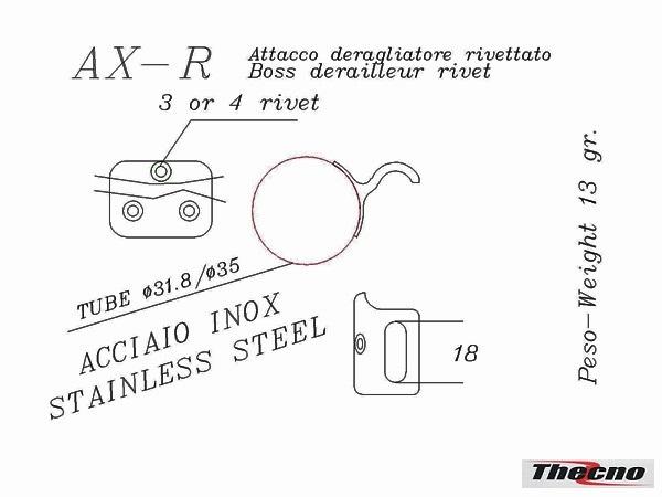 Cod:AX-R - ATTACCO DERAGLIATORE INOX AX-R - Thecnoline