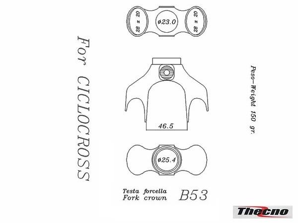 Cod:B53 - TESTA FORCELLA DIAMETRO 25.4 IN MICROFUSIONE B53 - Thecnoline