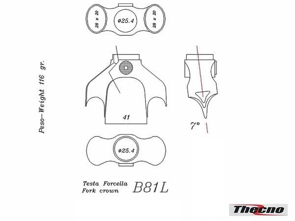 Cod:B81L - TESTA FORCELLA DIAMETRO 25.4 IN MICROFUSIONE B81L - Thecnoline